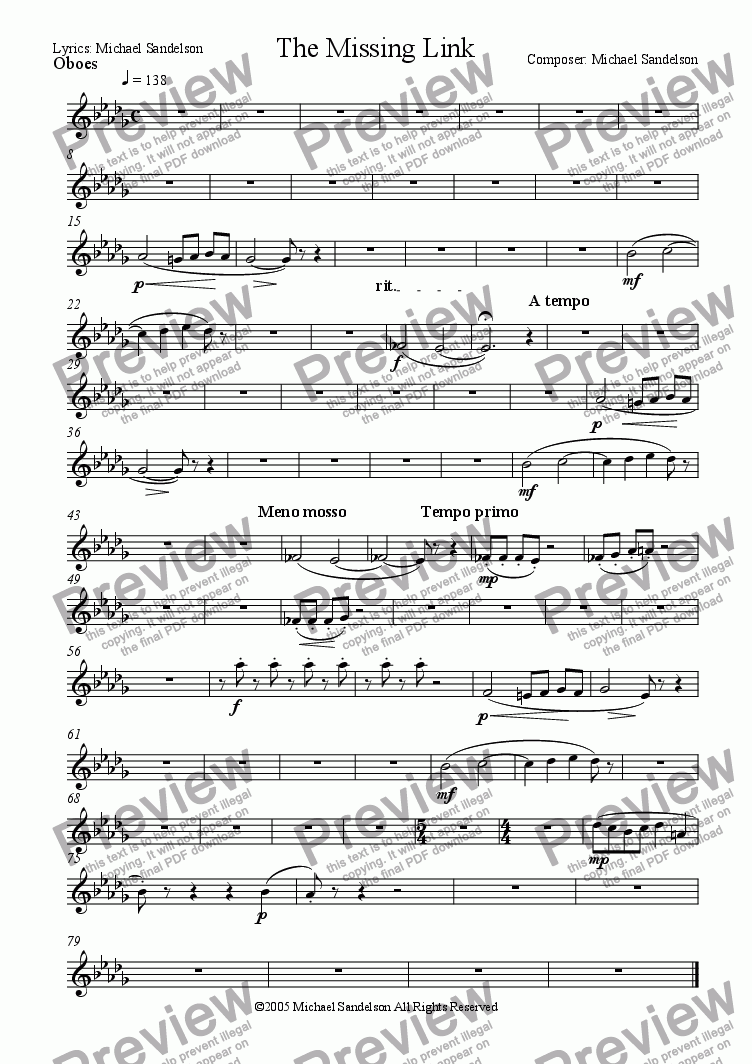 page one of the Oboes part from The Missing Link