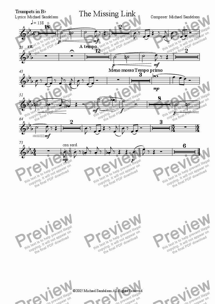page one of the Trumpets in B-flat part from The Missing Link