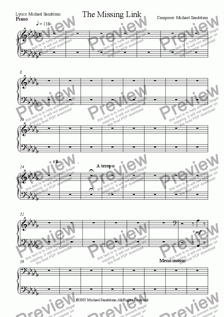 page one of the Piano part from The Missing Link
