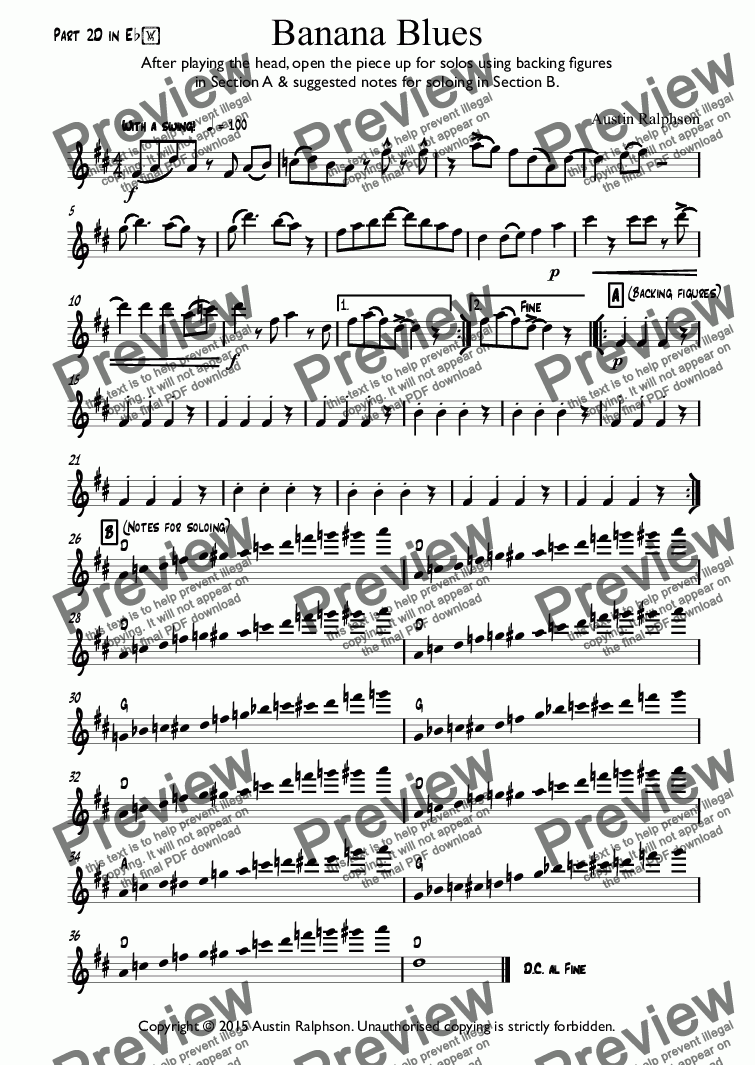 page one of the Part 2D in Eb part from Banana Blues - classroom ensemble (mixed ability)