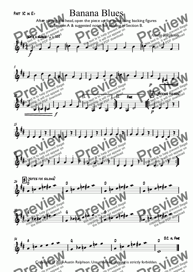 page one of the Part 5C in Eb part from Banana Blues - classroom ensemble (mixed ability)