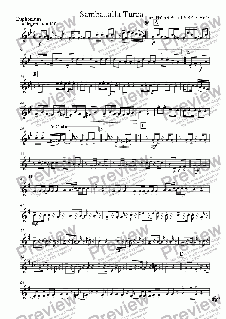 page one of the Euphonium part from Samba..alla Turca! (Brass Quintet / Ensemble)