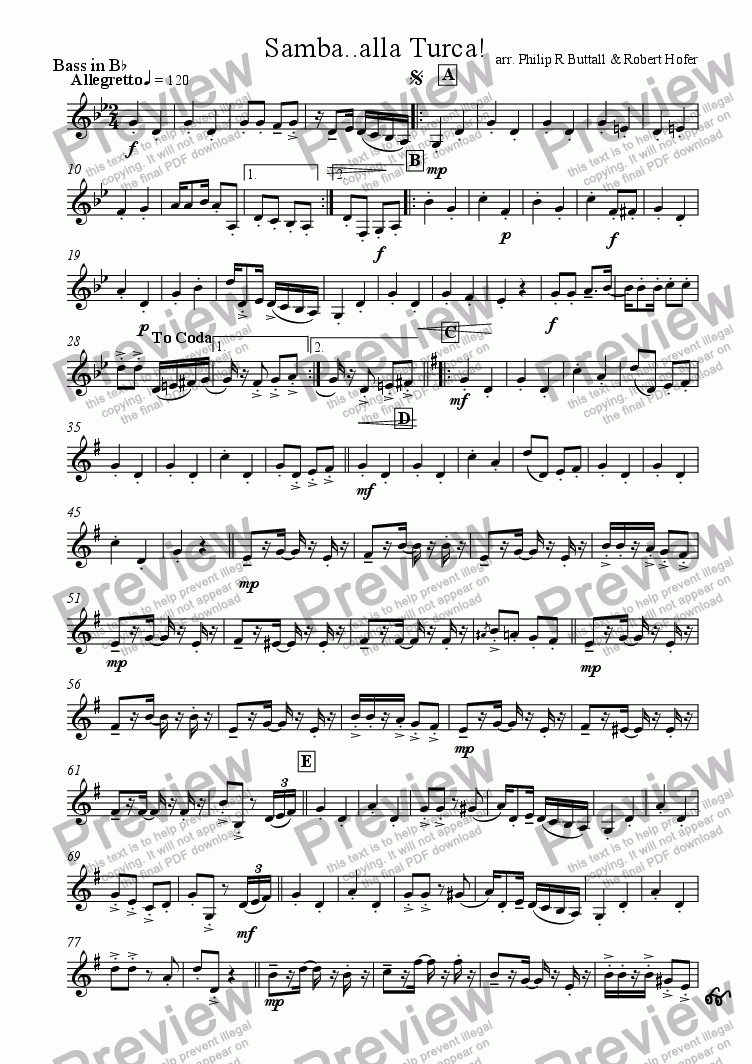 page one of the Bass in Bb part from Samba..alla Turca! (Brass Quintet / Ensemble)