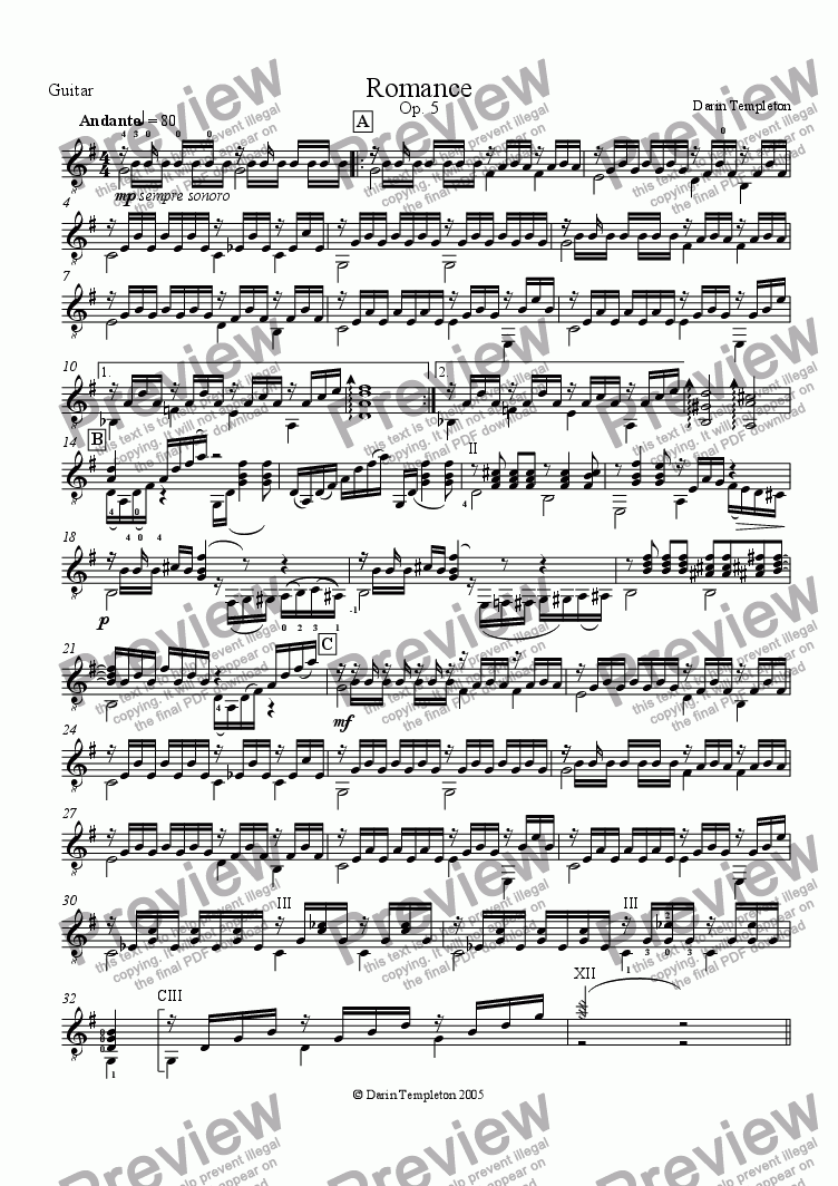 page one of the Guitar part from Romance Op. 5