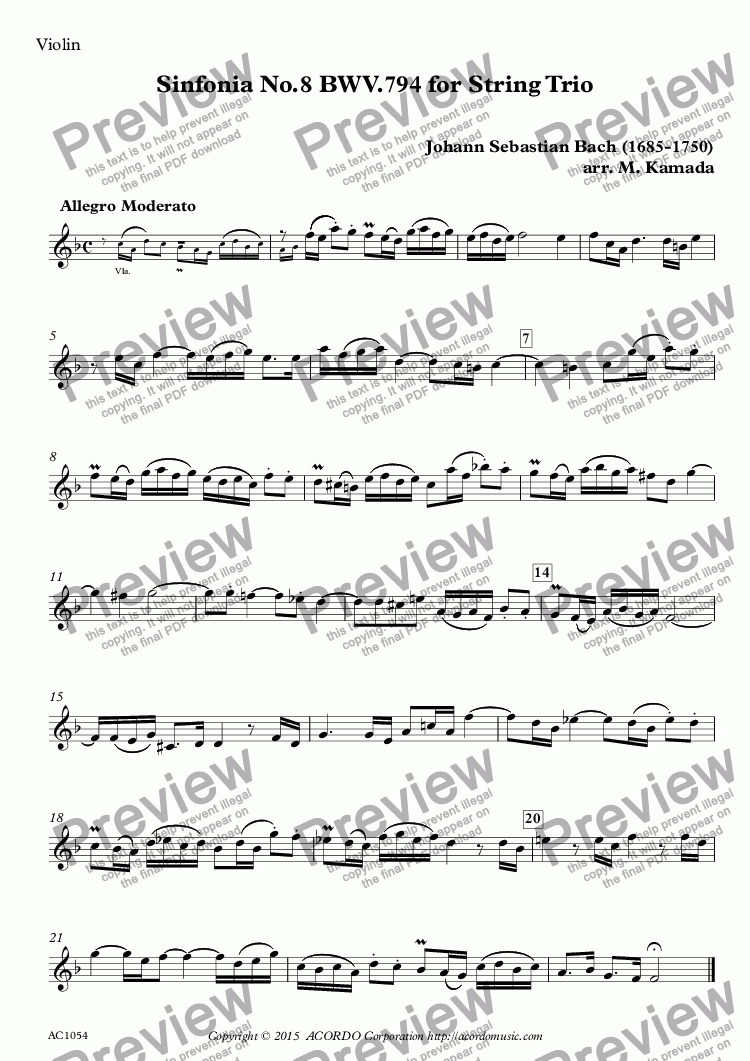 page one of the Violin part from Sinfonia No.8 BWV.794 for String Trio