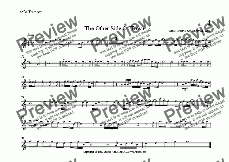 page one of the 1st Trumpet part from The Other Side Of Town