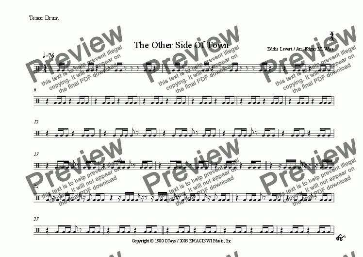 page one of the Tenor Drum part from The Other Side Of Town