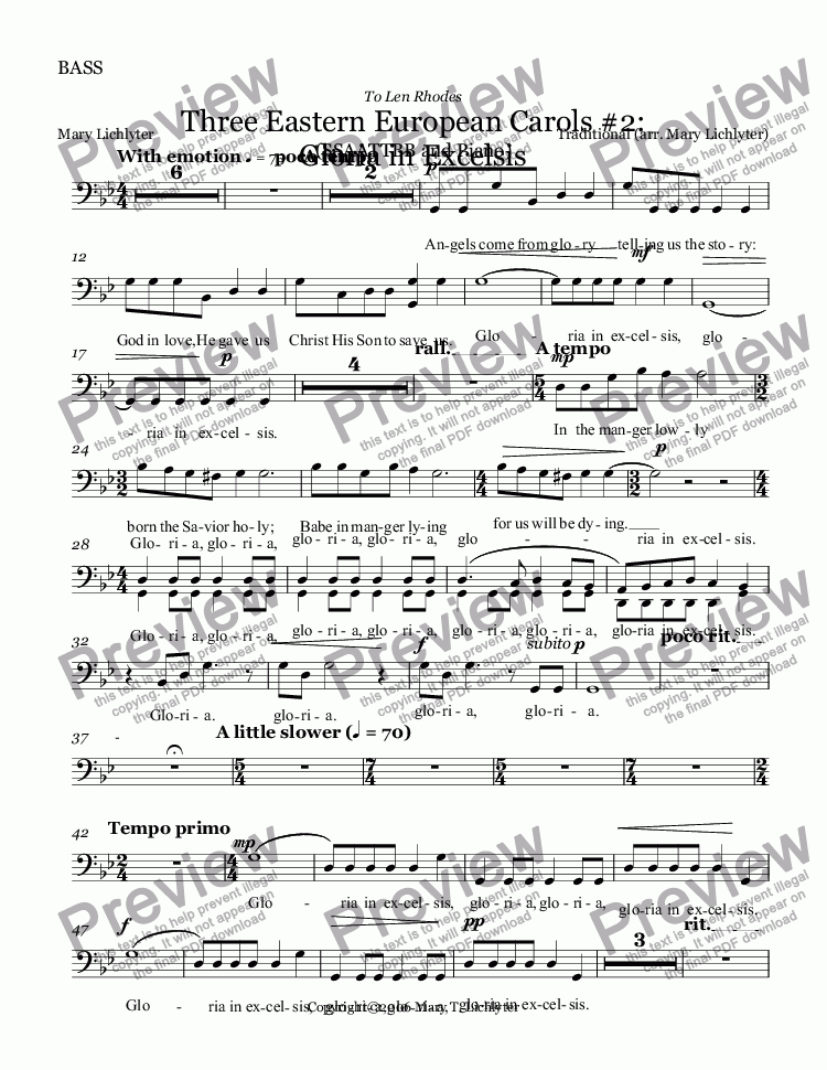 page one of the BASS part from Eastern European Carols #2:   Gloria in Excelsis