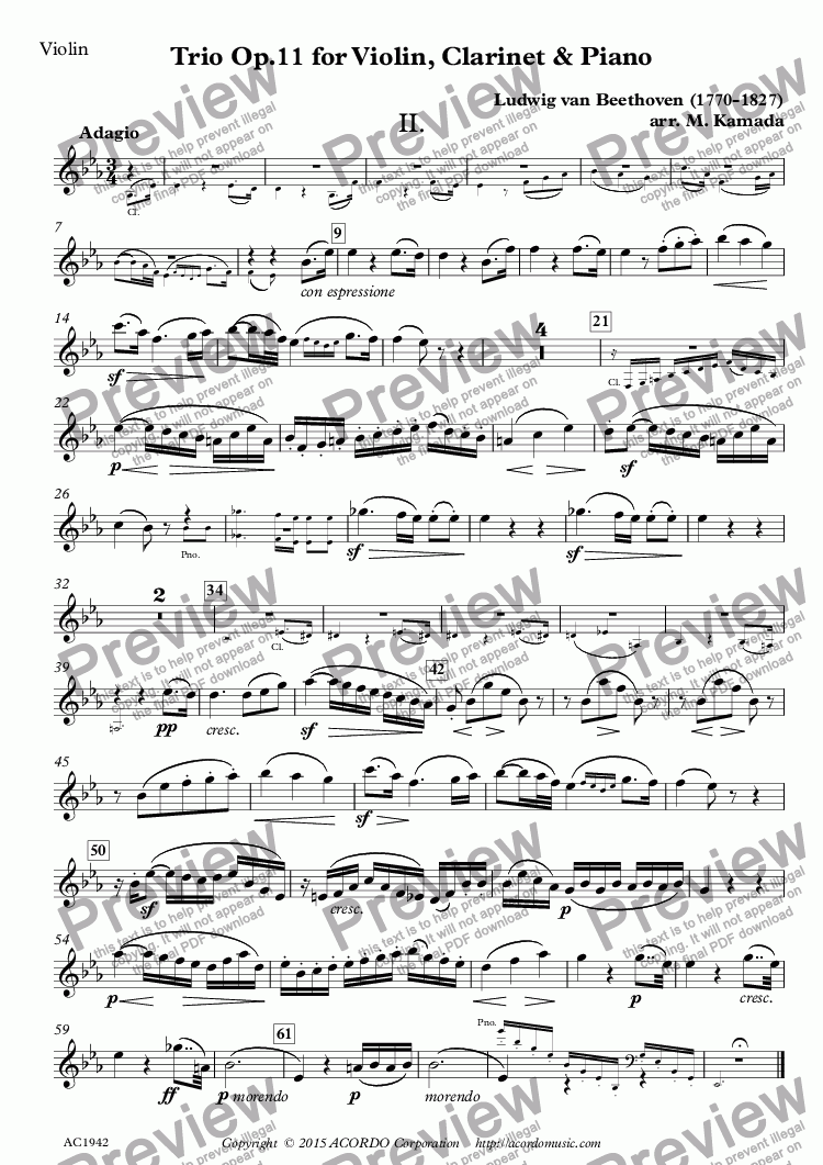 page one of the Violin part from Adagio from Trio Op.11 for Violin, Clarinet & Piano