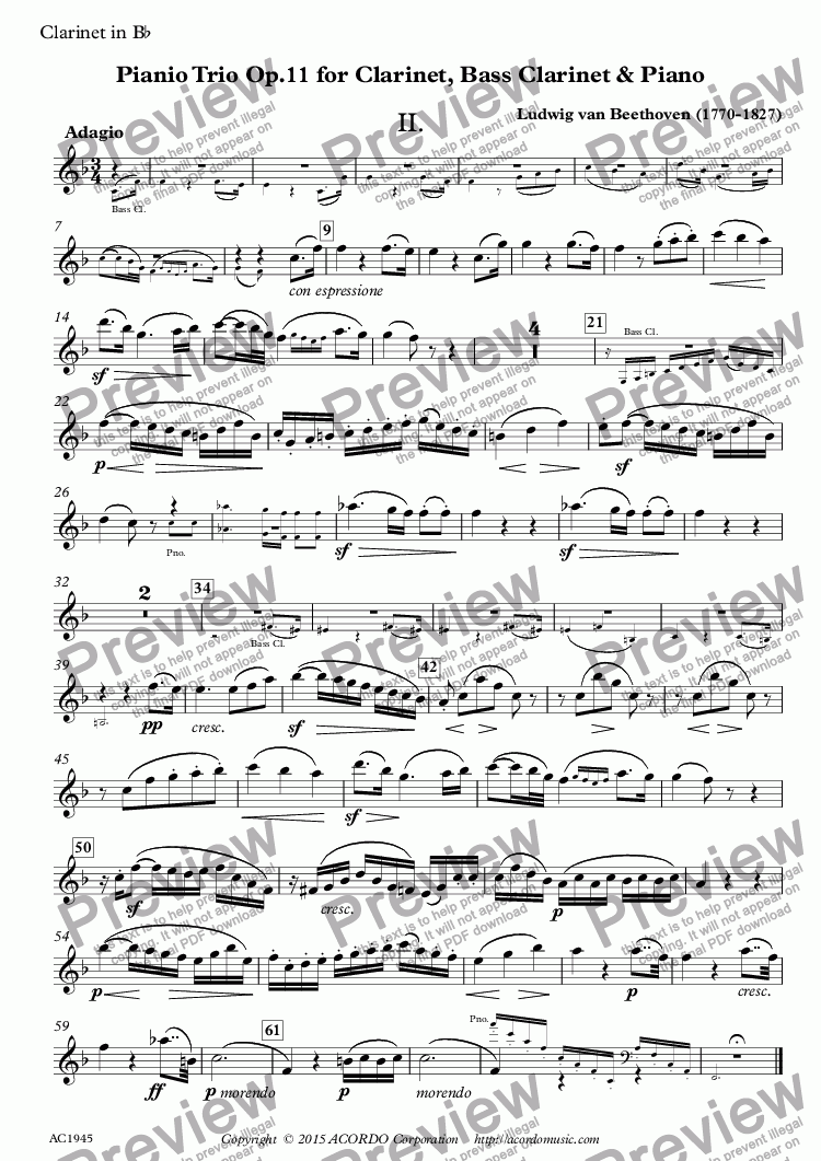 page one of the Clarinet in Bb part from Adagio from Trio Op.11 for Clarinet, Bass Clarinet & Piano