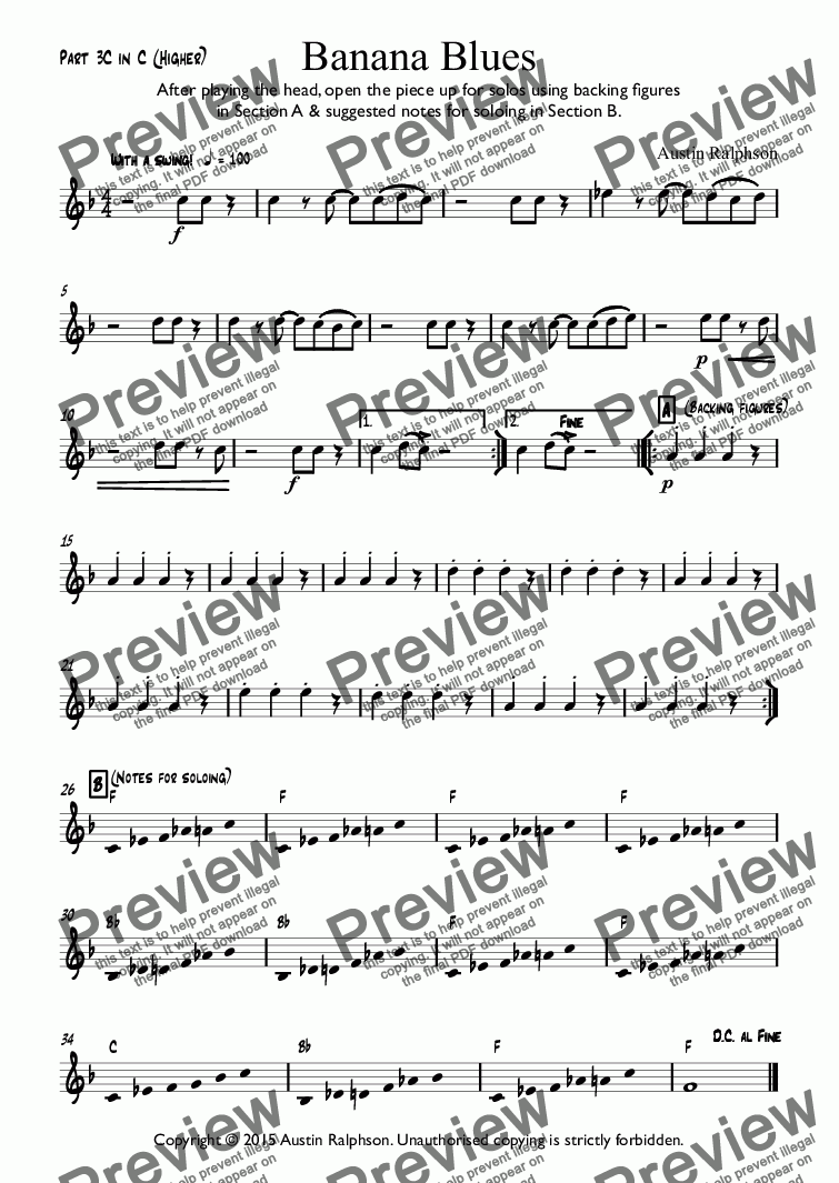 page one of the Part 3C in C (Higher) part from Banana Blues - classroom ensemble (mixed ability)