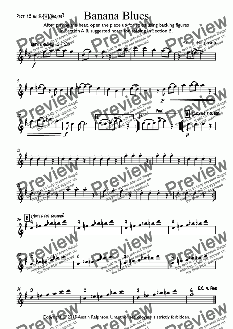 page one of the Part 1C in Bb(Higher) part from Banana Blues - classroom ensemble (mixed ability)