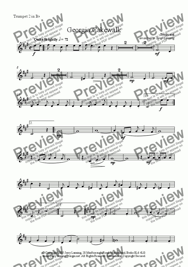 page one of the Trumpet 2 inBb part from Georgia Cakewalk (brass quintet)