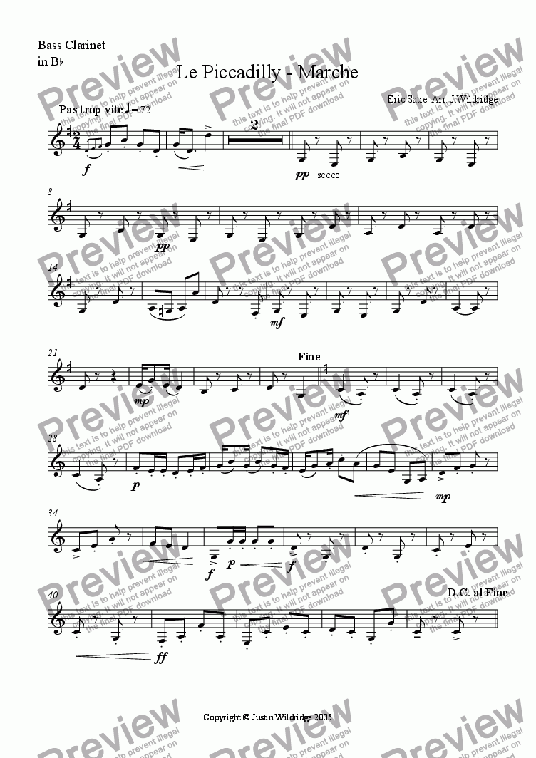 page one of the 4th/Bass Clarinet part from Le Piccadilly