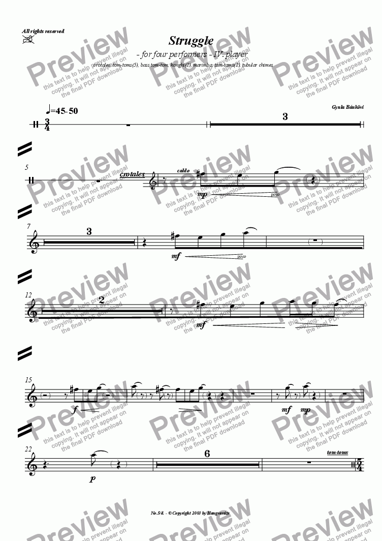 page one of the Percussion IV part from Struggle