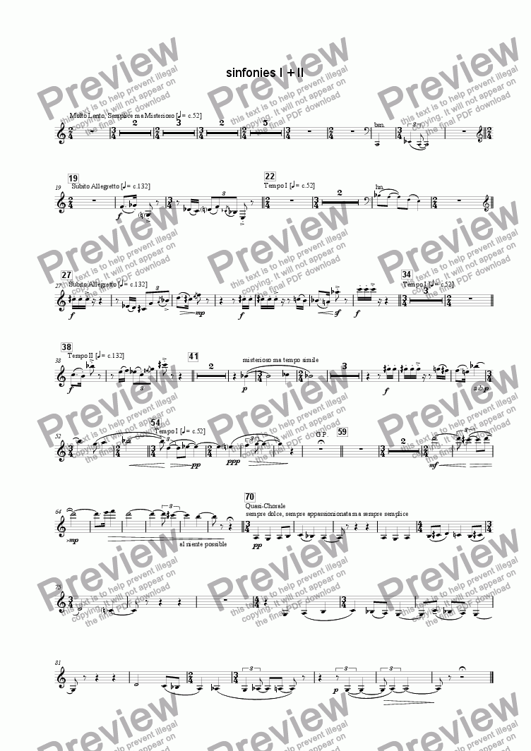 page one of the Clarinet(s) part from Sinfonies I + II