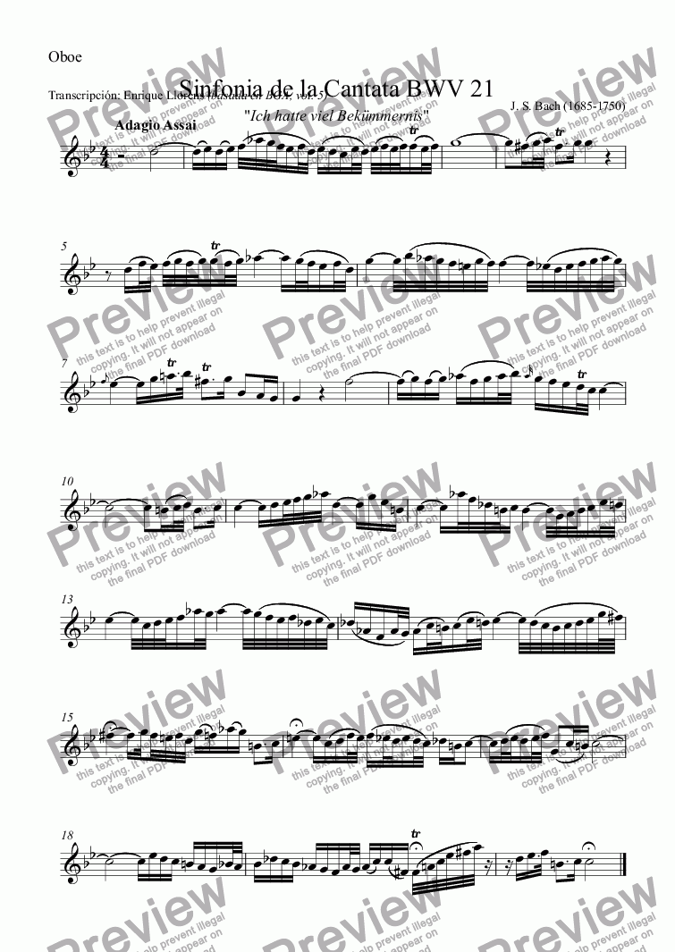 page one of the Oboe part from Sinfonia from Cantata BWV 21