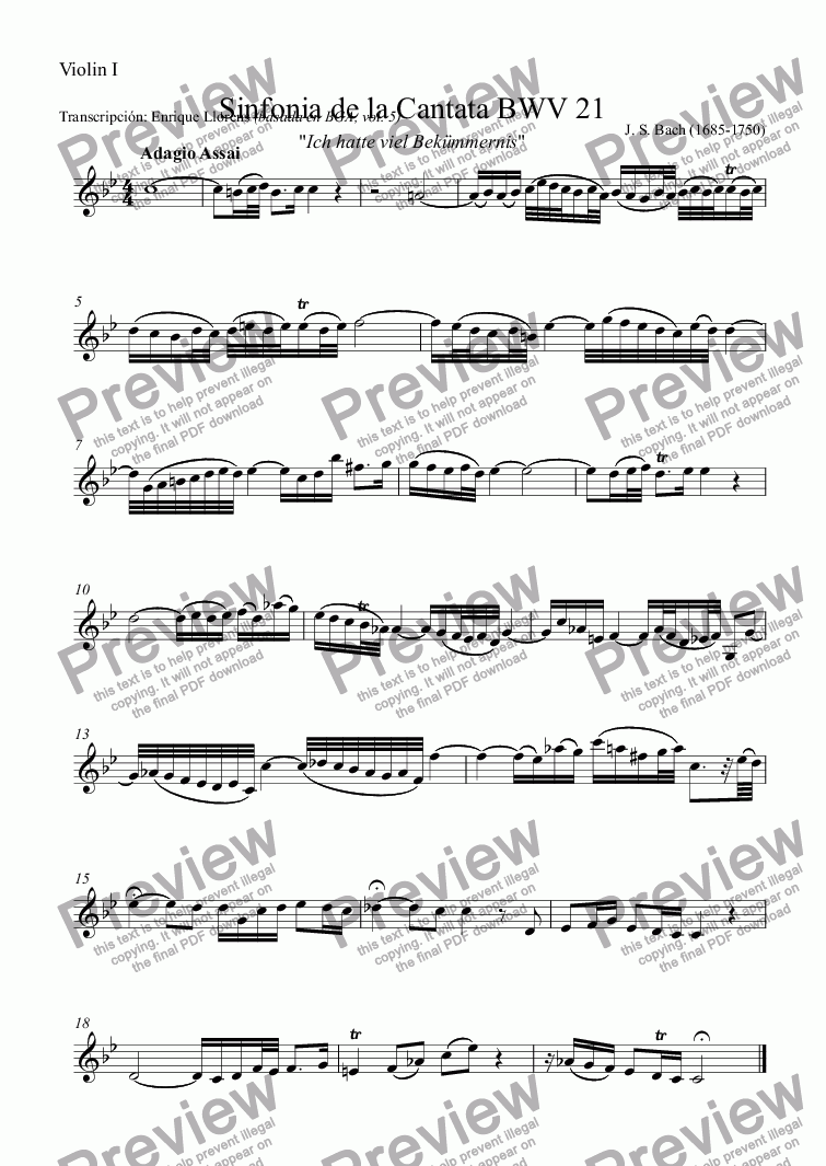 page one of the Violin I part from Sinfonia from Cantata BWV 21