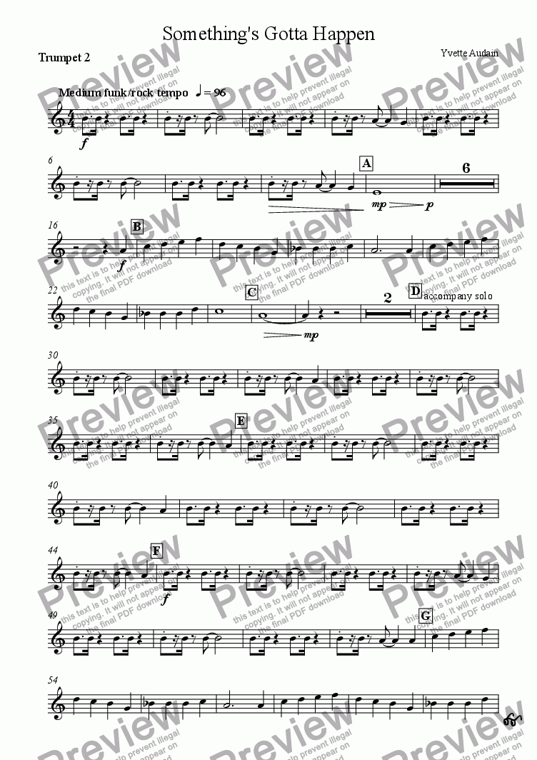 page one of the Trumpet 2 part from Something's Gotta Happen