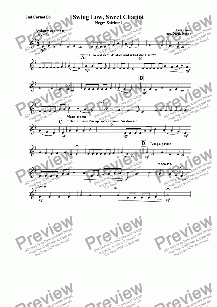 page one of the 2nd  Cornet Bb part from Swing Low, Sweet Chariot