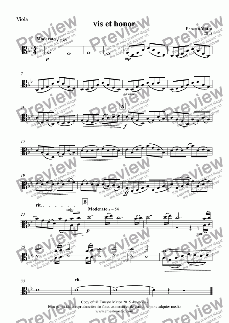 page one of the Viola part from Vis et honor