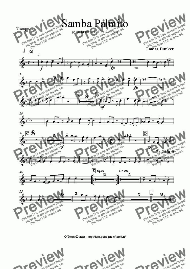page one of the Trumpet 2 part from SAMBA PALMITO (for BigBand)