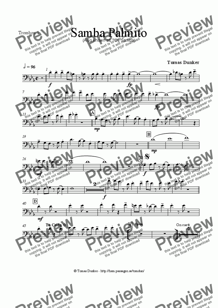 page one of the Trombone 1 part from SAMBA PALMITO (for BigBand)