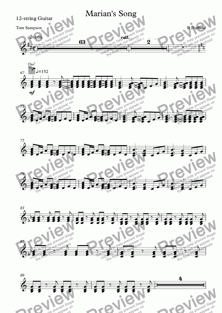 page one of the 12-string Guitar part from Marian's Song