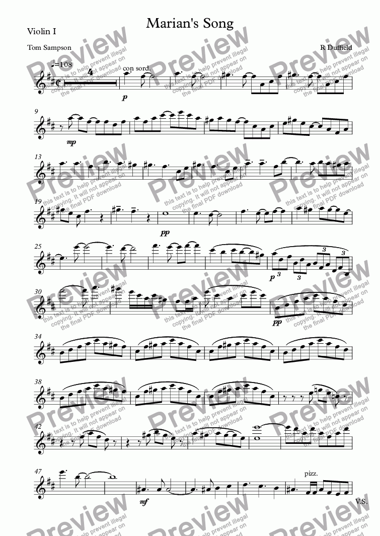 page one of the Violin I part from Marian's Song