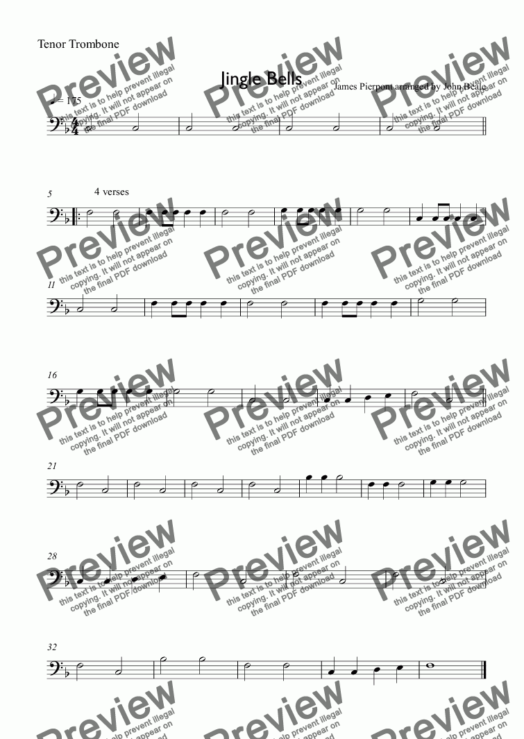 page one of the Tenor Trombone part from EASIER SCHOOL ORCHESTRA SERIES 8 Jingle Bells