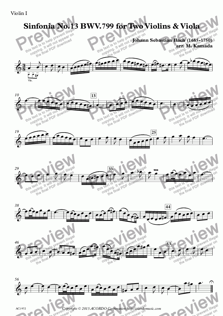 page one of the Violin I part from Sinfonia No.13 BWV.799 for Two Violins & Viola