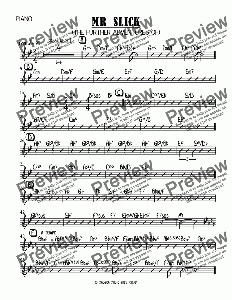 page one of the Piano part from MR SLICK