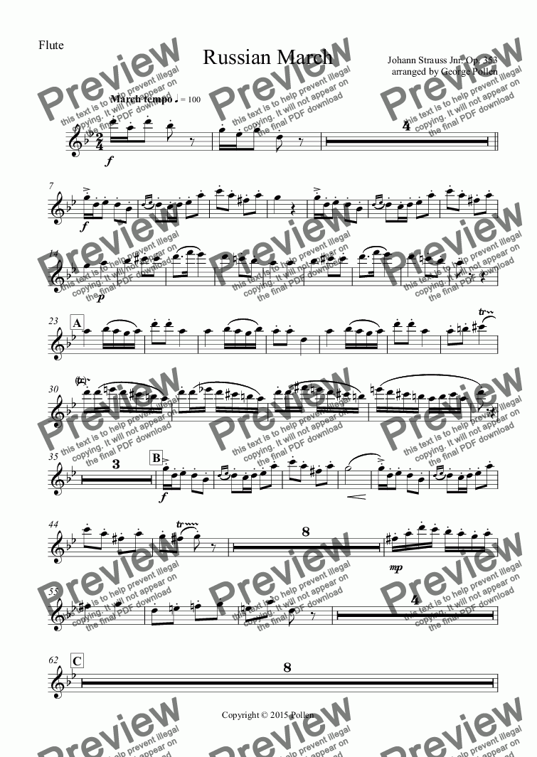 page one of the Flute part from Russian March