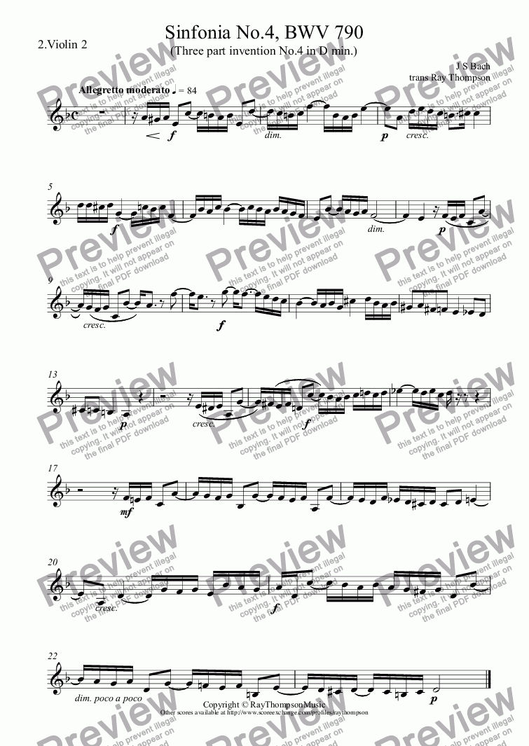 page one of the 2.Violin 2 part from Bach: Sinfonia No.4 in D min, BWV 790 (three part invention no.4) arr. flexible string trio
