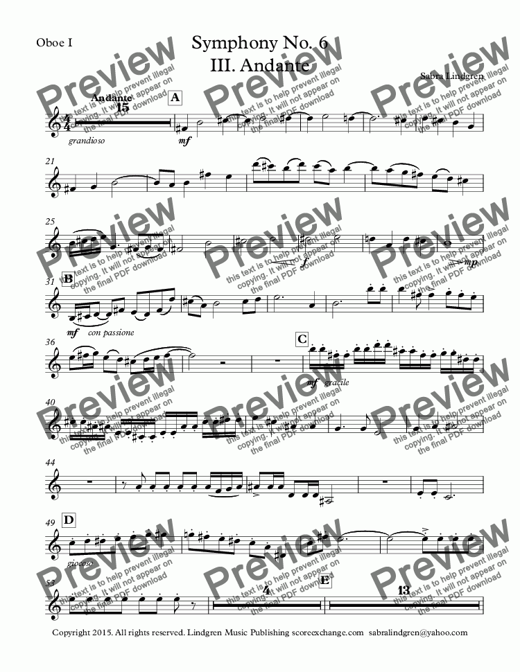 page one of the Oboe I part from Symphony No. 6 III. Andante