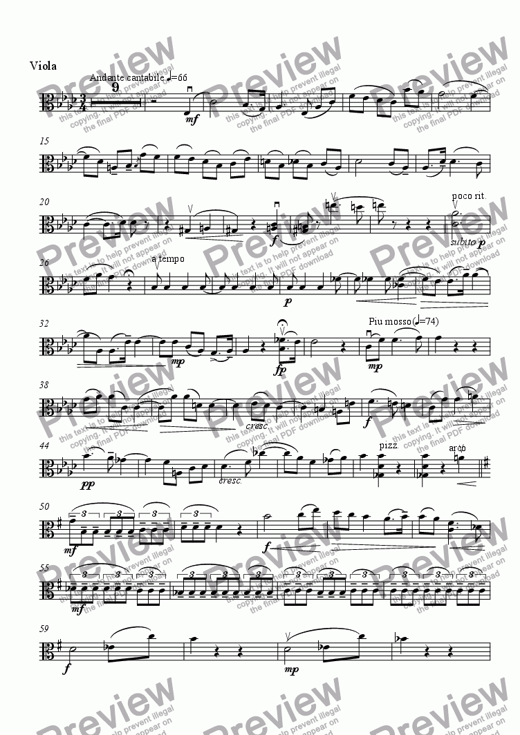 page one of the Viola part from Piano Quartet in G minor - II. Andante cantabile