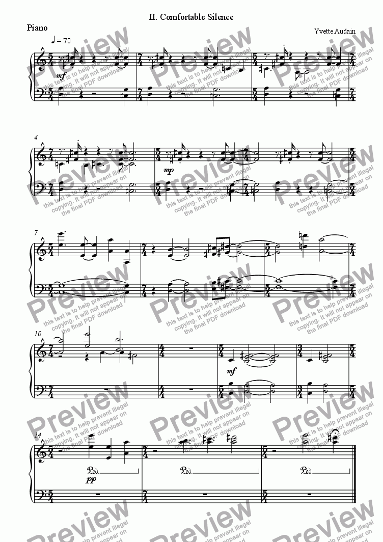 page one of the Piano part from Comfortable Silence