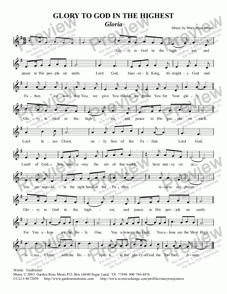 Lead sheet - 1 page, no chords part from Glory to God in the Highest ...
