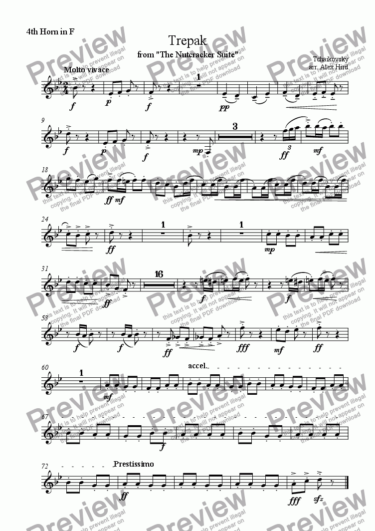 page one of the 4th Horn part from Trepak - 8 Horns