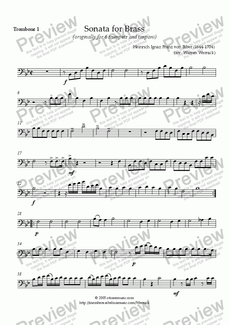 page one of the 6. Biber Sonata for Brass Trombone 1 part from Sonata for Brass