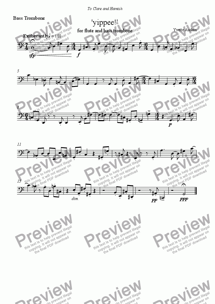 page one of the Trombone part from 'yippee!'