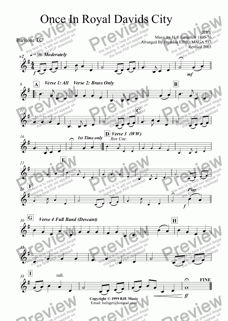 page one of the Baritone TC (Euphonium) part from Once In Royal David's City (Christmas) - Concert Band