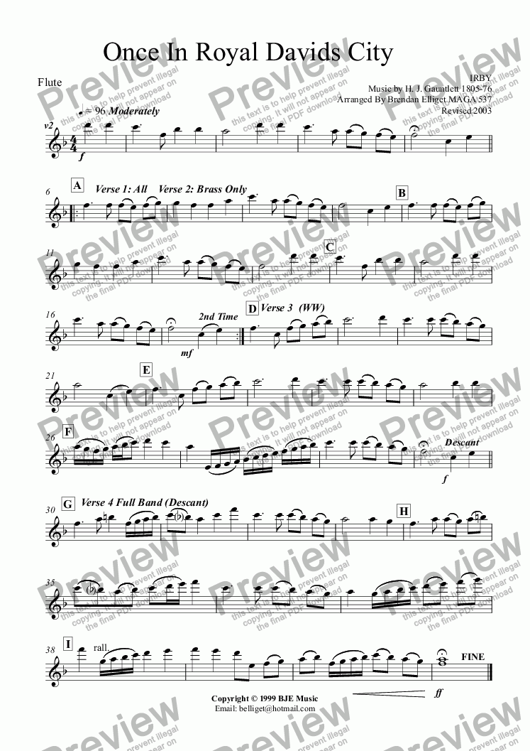page one of the Flute part from Once In Royal David's City (Christmas) - Concert Band