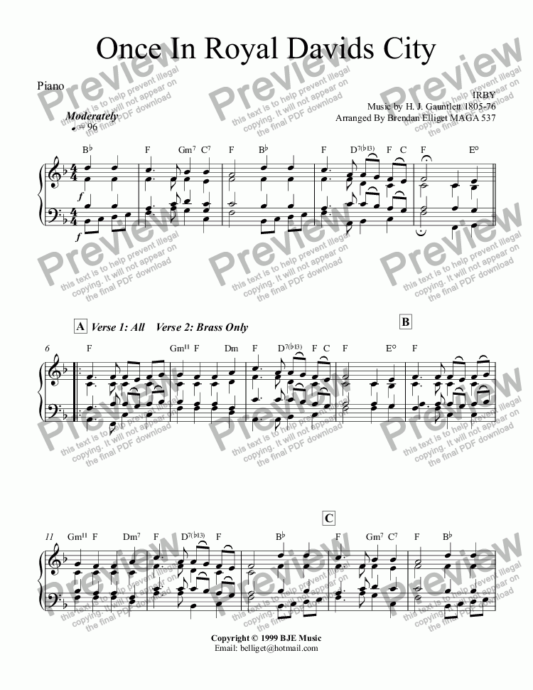 page one of the Piano - Keyboards(Optional) part from Once In Royal David's City (Christmas) - Concert Band