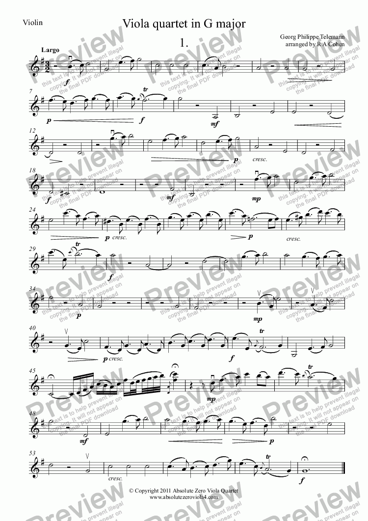 page one of the Violin (alternative) part from Telemann - VIOLA QUARTET in G major