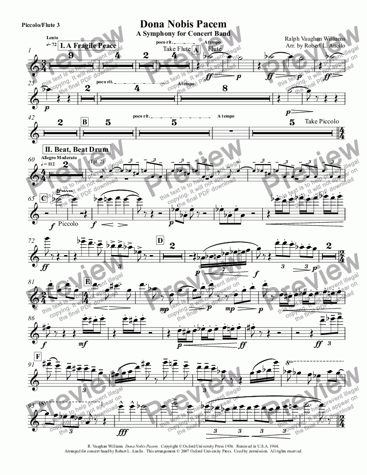 page one of the Piccolo/Flute 3 part from Dona Nobis Pacem