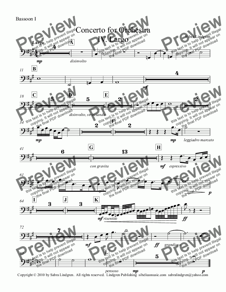 page one of the Bassoon I part from Concerto for Orchestra IV. Largo