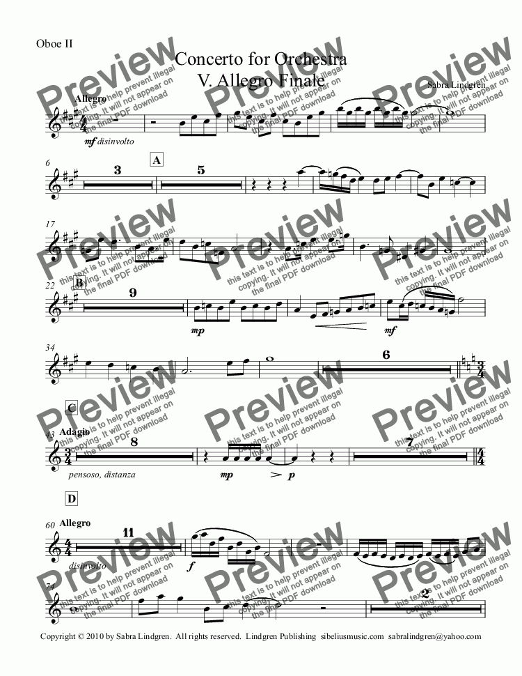 page one of the Oboe II part from Concerto for Orchestra V. Allegro Finale