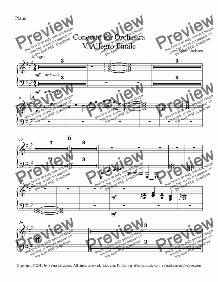 page one of the Piano part from Concerto for Orchestra V. Allegro Finale