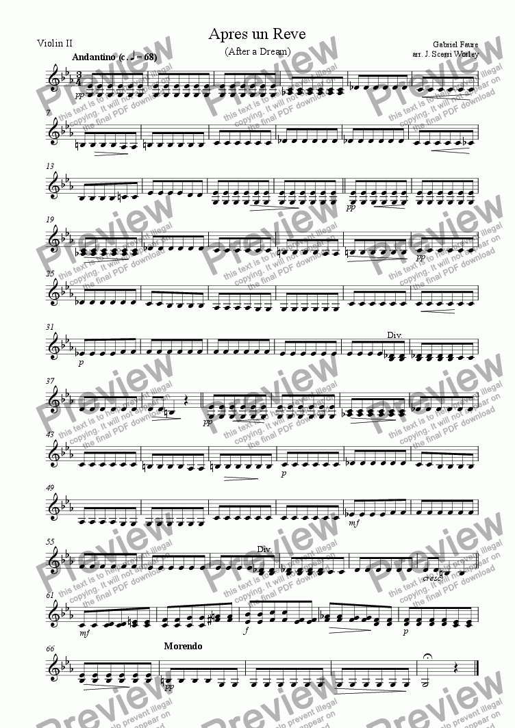 page one of the Violin 2 part from Apres un Reve